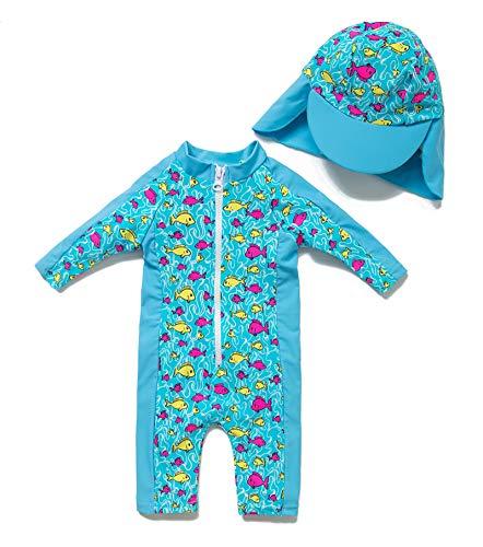 BONVERANO Kids UPF 50+ Sun Protection 3/4 Sleeve One Piece Zip Sun Suit with Sun Hat (9-12 Months, Lake Blue)