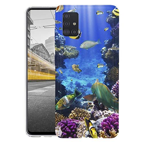 KX-Mobile Hülle für Samsung A51 Handyhülle Motiv 1520 Fische Meer Bunt Riff Premium Silikonhülle SchutzHülle Softcase HandyCover Handyhülle für Samsung Galaxy A51 Hülle