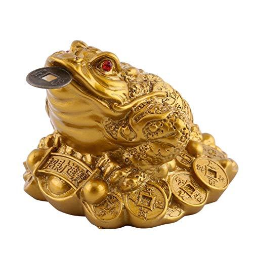 Chino Feng Shui Dinero Rana Próspero Negocio Riqueza Suerte Tres patas Moneda Sapo Para la Decoración de la Oficina en Casa Calentamiento de la Casa Regalo de Apertura de la Tienda(6 * 6 * 5)
