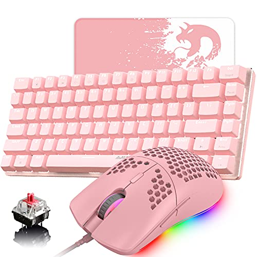 Pink Gaming Keyboard and Mouse,3 in 1 White LED Backlit Wired Mechanical Keyboard Red Switch,RGB 6400 DPI Lightweight Gaming Mouse with Honeycomb Shell,Gaming Mouse Pad for PC Gamers