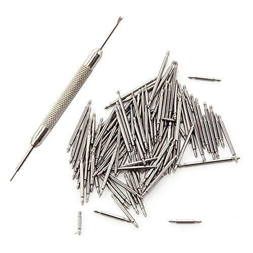 Vixzero - Perni di ricambio a molla, in acciaio inossidabile, per cinturini di orologi da polso, color argento, 108 pezzi, 8-25 mm, con pinzetta per la rimozione