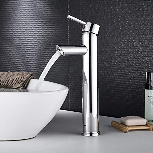Wasserhahn Bad Hohe Waschtischarmatur, BONADE Waschbecken Armatur Verchromt Einhandmischer Mischbatterie Messing Badarmatur Waschbeckenarmatur Einhandbatterie für Badezimmer Waschtisch