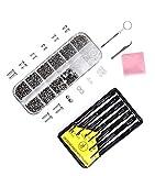 Eyeglasses Repair Kit – Eyeglass Sunglass Repair Kit with 1100 Small Screws, Tweezers, 6Pcs Screwdrivers, Tiny Micro Screws Nuts Assortment Stainless Steel Screws for Spectacles Watch by LAMPTOP