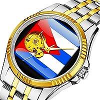 時計、機械式時計 メンズウォッチクラシックスタイルのメカニカルウォッチスケルトンステンレススチールタイムレスデザインメカニ (ゴールド)-530. Flag_of_Cuba