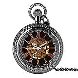 Mano de obra elegante y simple, exquisita, buenos Reloj de bolsillo Moda Mano grande Relojes de bolsillo mecánico Hombres Mujeres Colgante Clásico Steampunk Reloj Negro Windup Esqueleto Hora de reloj