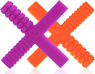 Sensory Chew Stick Toys for Boys Girls Kids with Autism, ADHD, SPD, Oral Motor Needs - Baby Teething Chewy Tubes 2 Different Hardness with 4 Unique Textures (2 Pack)