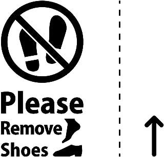 土足 厳禁 禁止 Please Remove Shoes ステッカー シール(テキスト・矢印付き) カッティングステッカー 光沢タイプ・防水 耐水・屋外耐候3~4年【クリックポストにて発送】 (黒, 100)