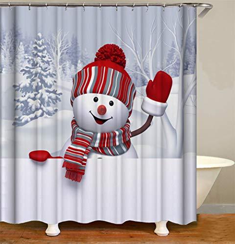 ZZZdz Winterwoud zoete sneeuwpop waterdicht, gemakkelijk te reinigen. 12 haken gratis 3D HD-druk niet vervagen. Douchegordijn, 180 x 180 cm