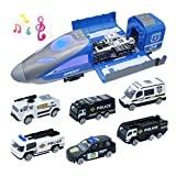 KanKoJo 7-in-1 Friction Powered Toy Storage Vehicle with Lights & Sounds, Bullet Train Carrier Truck Toy with 6 Die-cast Police Patrol Rescue Truck Cars Gift for Boys and Girls Kids
