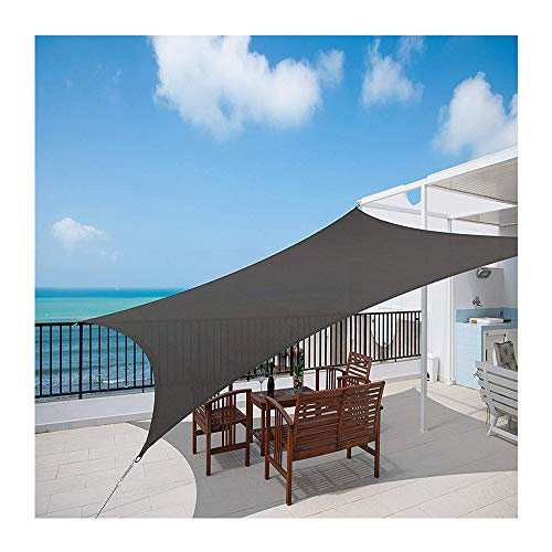 LYYK Sun Shade Sail Hardware Kit 3.5x7m, Sunscreen Awning Canopy Breathable 90% UV Block Permeable, Sunblock Cloth 100% HDPE Protection Fabric Durable for Garden Gazebo Pergola - Anthracite 185GSM