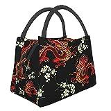 Bolsa de almuerzo con aislamiento ,Patrón floral colorido bordado con dragones chinos y japoneses,Tote Refrigerador portátil Lonchera Bolsa de calentamiento de alimentos para trabajo de