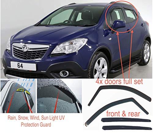 AC WOW 4 Windabweiser kompatibel mit Opel Mokka 2012 2013 2014 2015 2016 2017 2018 2019 2020 Acrylglas PMMA Tür Fenster In-Kanal Visier Regen Schnee Sonne Wetterschutz