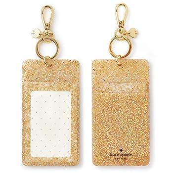 Kate Spade New York Id Badge Clip Key Chain Gold Glitter