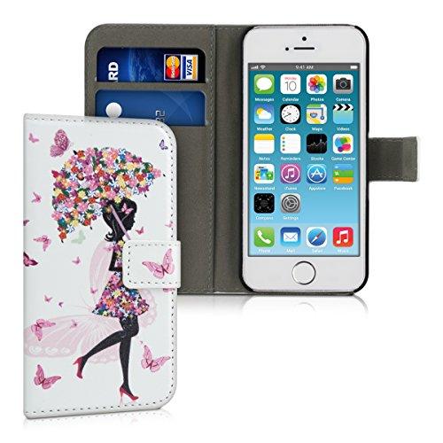 kwmobile Funda Compatible con Apple iPhone SE (1.Gen 2016) / 5 / 5S - Carcasa de Cuero sintético Paraguas para Chicas - con Tarjetero