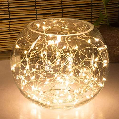 Lichterkette mit 100 LEDs, batteriebetrieben, mit Timer-Einstellung, warmweiße Lichterkette, 10 m Silberdraht, Sternenbeleuchtung, für Schlafzimmer, Innenbereich, Weihnachtsbaum, Hochzeitsdekoration