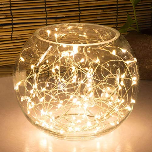100LED Fairy Light Battery Operated LED Lights with Timer Setting Warm White String Lights, 10M Silver Wire Starry Lighting, for Bedroom, Indoor, Christmas Tree, Wedding Decor Idea Put in Jars