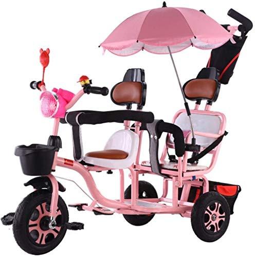 Bicicleta de empuje de acero al carbono doble triciclo de dos plazas con sombrilla/mango de empuje para padres/cesta de almacenamiento delantera y trasera/asiento de cuero suave-Rosa