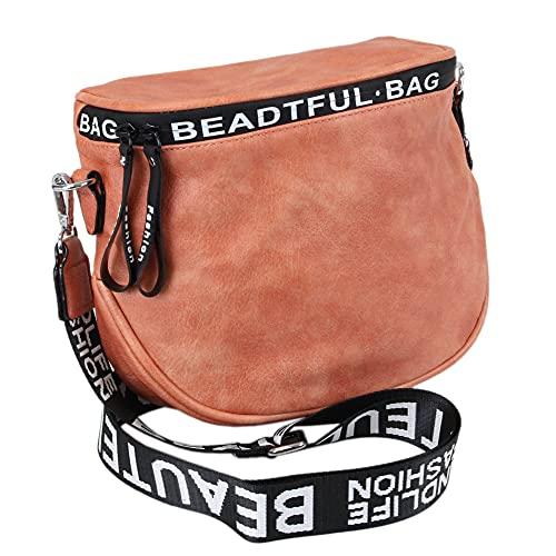 irisaa Umhängetasche Damen kleine Schultertasche Crossbody Handtasche Handy Brieftasche mit Reißverschluss, Schultergurt 4cm Breit, Damen Tasche:Aprikose