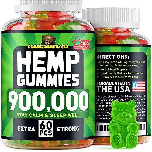Hemp Gummies 900,000 - Made in USA - 15,000 Hemp in Each Gummy - Premium Hemp Extract - CO2 Extraction - Omega 3, 6, 9 - Anxiety & Stress Relief