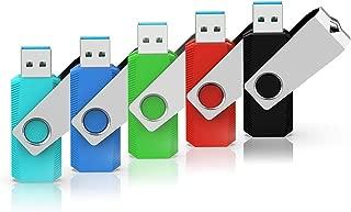 RAOYI USBメモリ32GB USB3.0 超高速データ転送 フラッシュドライブ 5個セット 読取り最大100MB/s 回転式 2年保証 カラフル(青緑赤黒水色) ストラップホール付き
