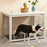 SIMPLY+ Wooden Dog Crate with Slide Tray, Wooden Wire Dog Kennels with Double Doors, Detachable Top Cover Indoor Pet Crate Side Table, Chew-Proof (44.1' L29.3W30.1 H, White)
