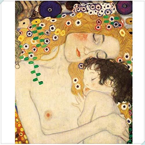 luckykyky Kits de pintura de diamantes 5D Obras de arte famosas de Gustav Klimt Madre e hijo Bordado de diamantes Diamante de imitación completo Diamante Mosaico Diamante redondo40X50 cm