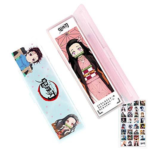Club is Anime My Hero Academia/Demon Slayer Gift Set – 1 estuche para lápices + 12 marcapáginas + 32 pegatinas, regalo para estudiantes y fans de Anime Demon Slayer-3