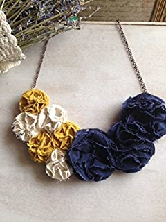 Recycled Linen Floral Color Block Necklace