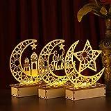 OSALADI 3 Pièces Eid De Bureau en Bois Ornements Bois Ramadan Moubarak Nuit Lumière Musulman Eid Table Lumineuse pour Eid Al- Fitr Partie Festival Chambre Décoration de La Maison