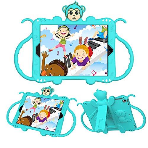 JCTek Protective Kids Case for Suitable for iPad Air/iPad Air 2 Case (9.7'), Cute Cartoon Monkey Shockproof Handle Stand Shoulder Strap Kids Case (aqua)