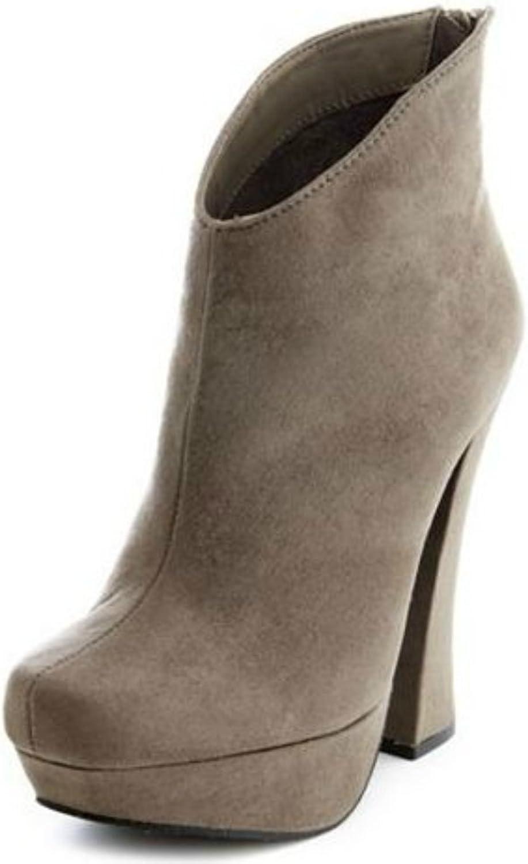 Suede Ankle Boot Tassel Chunky Heel Platform Pump