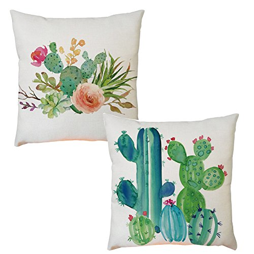 Aremazing Summer Style Green Succulents Plants Cactus Prickly Pear Cotton Linen Home Dcor Pillowcase Throw Pillow Cushion Cover 18 x 18 Inches Set of 2 (Set of 2 Cactus & Flowers)