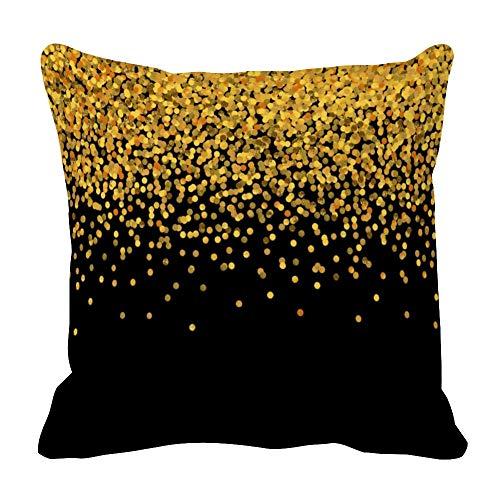 Perfecone Home Improvement - Funda de almohada para sofá y coche, diseño de confeti, color dorado y negro, 1 paquete de 40 x 40 cm