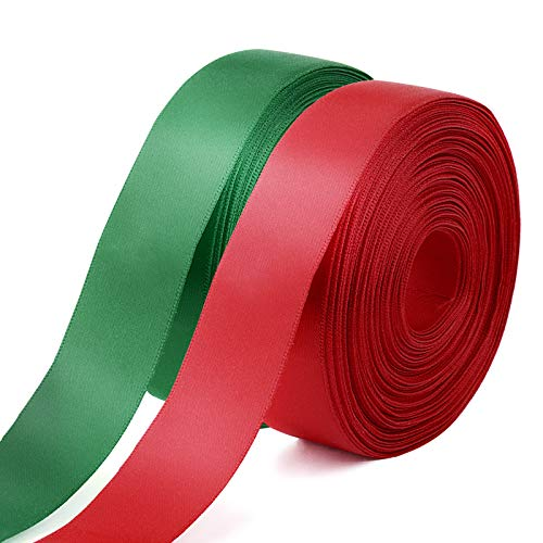 FLOFIA 50Yard Rollo Cinta Poliéster Rojo Verde de Satén Raso Tela Cinta de Navidad Decoración Manualidades Embalaje Regalo Cajas Flores Boda Fiesta Rollo Rojo Verde Cinta Alta Textura, 25mm 2 Rollos