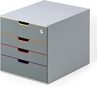 "DURABLE Keyed Lock Desktop Drawer Organizer (VARICOLOR 4 Compartments with Removable Labels) 11"" w x 14"" d x 11.375"" h, Gray & Multicolored (760627)"