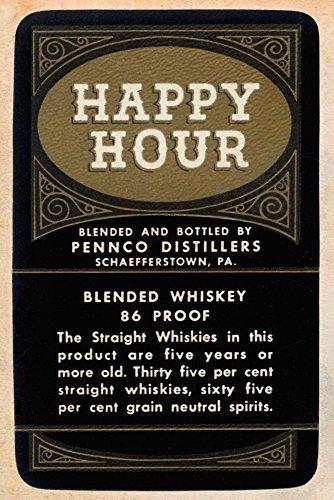 AFDRUKKEN-op-GEROLDE-CANVAS-Happy-Hour-Blended-Whisky-VintageBoozeLabels-Voedsel-Afbeelding-gedruckt-op-canvas-100%-katoen-Opgerolde-canvas-print-Kunstdruk-Afmeting-63_X_42_cm