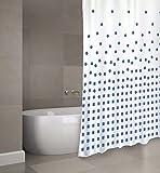 """MSV Cotexsa by Premium Anti-Schimmel Textil Duschvorhang - Anti-Bakteriell, waschbar, 100prozent wasserdicht, mit 12 Duschvorhangringen - Polyester, """"Thika"""" Blau, Weiß 180x200cm – Made in Spain"""