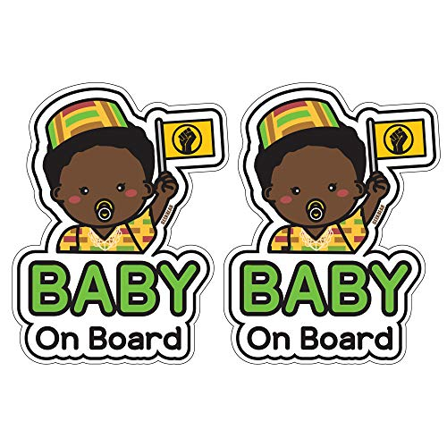 GEEKBEAR Baby on Board Sticker and Decal (Black boy, 2 Pack) - Baby Bumper Car Sticker - Baby Window Car Sticker - Baby in Car Sticker - Cute Safety Caution Decal Sign for Cars