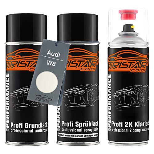 TRISTARcolor Autolack 2K Spraydosen Set für Audi W8 Weiss Perl/Weiss Perlmutt Grundlack Basislack 2 Komponenten Klarlack Sprühdose