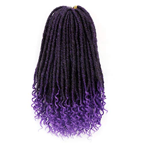 6Packs Goddess Faux Locs Crochet Hair 16 Inch Straight Goddess Locs with Curly Ends Synthetic Crochet Hair Braids for Women(1B-Purple)