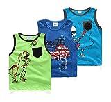 Coralup Little Boys Sleeveless Tank T-Shirts Tops 3PCS ZH001(5T,Multicoloured)
