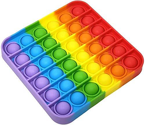 Bonkey Pop It Pop It Pop Sprudel-Spielzeug, Stressabbau und Angstzustände, Regenbogen-Quadrat