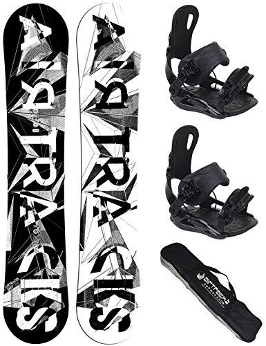 Airtracks Snowboard Set - Board BWF EXTRA Wide 155 - Softbindung Master L - SB Bag