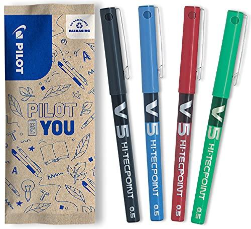 Pilot V5 HI-TECPOINT Hi-Tecpoint V5 - Penna a inchiostro liquido, confezione da 4 pz, colore: 1 nero - 1 blu - 1 rosso - 1 verde