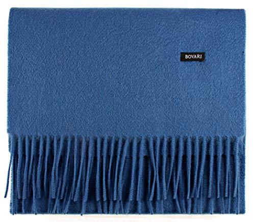 Bovari Kaschmir Schal Herren – 100{4cb0dde7b4128cb3e484734c0f7c130947779a7626862247c67dfbad0d0f2f83} Kaschmir/Cashmere – Premium Qualität – 180 x 31 cm - viele Farben (blau)