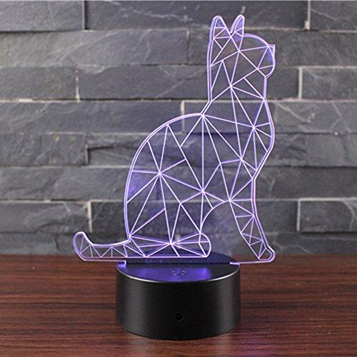 3D Optische Illusions Lampen NHSUNRAY LED 7 Farben Touch-Schalter Ändern Nachtlicht Für Schlafzimmer Home Decoration Hochzeit Geburtstag Weihnachten Valentine Geschenk (Wächter-Katzen)