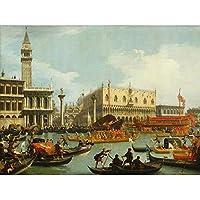 Canaletto Bucentaur's Return Venice Italy Painting Unframed Wall Art Print Poster Home Decor Premium 運河ヴェネツィアイタリアペインティング壁ポスターホームデコ