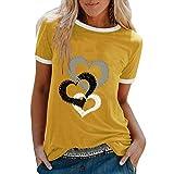 YANFANG Camiseta De Manga Corta Suelta con Cuello Redondo Y Estampado Informal A La Moda para Mujer, Blusa Superior, Jersey Camisetas Mujer Raya Blusas Tops FiestaXXXLYellow