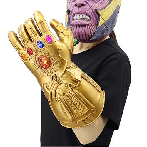 Fugui, Machera e guanto di Thanos in PVC di alta qualità con gemme LED per cosplay, spettacolo, mostre, collezione, per adulti e ragazzi, PVC LED Gauntlet