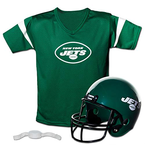 Franklin Sports NFL New York Jets Kids Football Helmet and Jersey Set - Youth Football Uniform Costume - Helmet, Jersey, Chinstrap - Youth M
